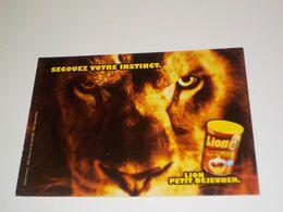 CARTE POSTALE SECOUEZ VOTRE INSTINCT PETIT DEJEUNER LE LION - Advertising