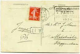 """FRANCE CARTE POSTALE DEPART PARIS 12 II 1924 DEPART AVEC FLAMME """" JEUX OLYMPIQUES PARIS MAI - JUIN - JUILLET 1924 """"..... - Estate 1924: Paris"""