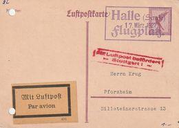 """Deutsches Reich / 1927 / Luftpostkarte Mi. P 168 Rahmenstempel """"HALLE FLUGPLATZ"""" (CC47) - Deutschland"""
