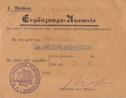 AUSWEIS (LAISSEZ-PASSER ALLEMAND ) HATTONCHATEL SAINT BENOÎT  14/18 - Sonstige Gemeinden
