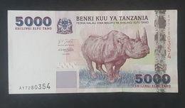 RS - Tanzania 5000 Shillingi Banknote 2003 #AY7280354 Rhinoceros - Tanzania