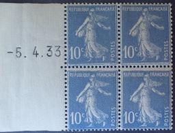 R1306/82 - 1933 - TYPE SEMEUSE FOND PLEIN - N°279 (IV) BLOC NEUF** ➤➤➤ CD à GAUCHE : 5.4.33 - Cote (2020) : 135,00 € - 1930-1939