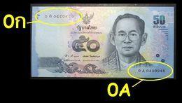 Thailand Banknote 50 Baht Series 16 P#120 SIGN#83 Beginning Prefix 0Aก UNC - Thaïlande