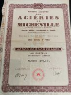 Action, Acieries De Micheville. Action De 2500 Francs - Industrie