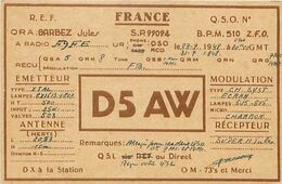 QSL D5AW FRANCE SP 99094 - BPM 510 Allemagne - 1948 GARBEZ Jules - Radio-amateur