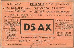 QSL D5AX FRANCE SP 50828 - BPM 507 Allemagne 1948 - DELLIER Jean - Cachet Poste Aux Armées - Radio-amateur