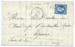 N° 22 BLEU NAPOLEON SUR LETTRE / FRAISSANS JURA POUR EPINAC / 1863 / HAUTS FOURNEAUX FONDERIES & FORGES MENANS - 1849-1876: Classic Period
