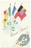 CARTE BONNE ANNEE 1917 / DRAPEAUX ET FER A CHEVAL / LULLINS 1 JANVIER 1917 - Guerra De 1914-18