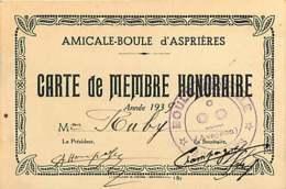 210720 - 12 ASPRIERES Carte De Membre Honoraire Amicale Boule 1939 - Frankrijk