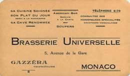 210720 - MONACO Commerce Carte De Visite BRASSERIE UNIVERSELLE 5 Avenue De La Gare GAZZERA Propriétaire Note - Cafes & Restaurants
