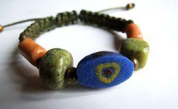 Bracelet Pierre Des Andes, Perle Africaine, Perle Verre Du Mali, Bracelet Réglable, Coton Vert, Travail Artisanal, Achat - Bracelets