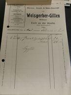 Facture Luxembourg, Weisgerber-Gillen Esch-Alzette 1913 - Luxembourg