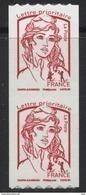 N° 1256 Marianne Ciappa Adhésif Roulette Rouge Année 2016, Valeur Faciale Lettre Prioritaire X2 - France