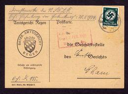 DR Postkarte REGEN - Cham - 25.FEB.35 - Mi. Dienst 135 - Dienstpost