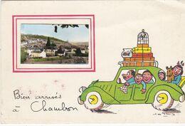 """Carte Postale (CPM) Sur CHAMBON """"Bien Arrivés à Chambon"""" - Autres Communes"""