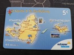 ST MARTIN €5,- MAP OF ST MARTIN ANS ST BARHTS  FINE USED CARD    ** 2750 ** - Antilles (Françaises)