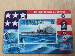 GIBRALTAR  LANDYS & GYR  5 UNITS MINT USS PHILADELPHIA ,STAMP ON CARD   **2751 ** - Gibraltar
