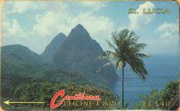 Saint Lucia - GPT, STL-7C, 7CSLC, SBr, Pitons 2 (Without Logo), Palm-trees, Rocks, 40$, 20,000ex, 1992, Used - St. Lucia