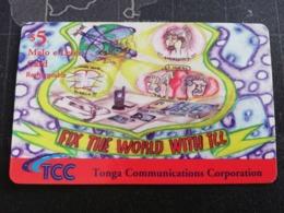 TONGA $5,-   FILL THE WORLD WITH TCC  Fine Used Card  ** 2761** - Tonga
