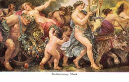 ÉROTISME / SEXY / FEMME NUE / NAKED WOMAN : BACCHANTENZUG - MUSIK [ BACHANTES ] Par  A. V. MOLNAR-TRILL ~ 1910 (af197) - Tableaux