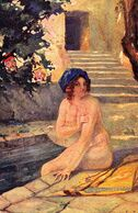 ÉROTISME / SEXY / FEMME NUE / NAKED WOMAN : IM BADE / AU BAIN / BATHING Par F. FIALA - EMGE SALON ~ 1910 (af198) - Tableaux