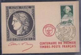 Carte Locale Journee Du Timbre 1949 Toulouse Centenaire Du Timbre - Covers & Documents