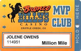Bronco Billy's Casino Cripple Creek, CO - 16th Issue Million Mile Slot Card - See Description & Scans! - Casino Cards