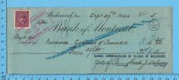 3¢ War Issue - Cheque 1944,  $4.35 To Receiver Of Canada From School Commissioners Melborne, Richmond P. Quebec - 1937-1952 Regno Di George VI