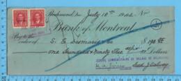 2 X 3¢ Mufti Issue - Cheque 1942, $193.55 To S.G. Desmarais & Co. From School Commissioners Melborne, Richmond P. Quebec - 1937-1952 Regno Di George VI