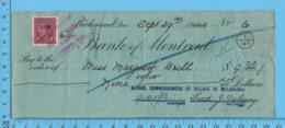 3¢ War Issue - Cheque 1944, $9 To Margaret Brill From School Commissioners Melborne, Richmond P. Quebec - 1937-1952 Regno Di George VI