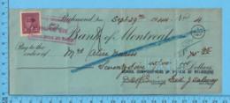 3¢ War Issue - Cheque 1944, $9 To MissAlice Norris From School Commissioners Melborne, Richmond P. Quebec - 1937-1952 Regno Di George VI