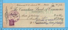 3¢ Poste-postage - Cheque 14.00 To Fred J. Salway From Village Of Melbourne , Richmond P. Quebec - 1937-1952 Règne De George VI