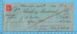 3¢ War Issue - Cheque 1942, $15.00 To J.H. Martin From School Commissioners Melborne, Richmond P. Quebec - 1937-1952 Regno Di George VI