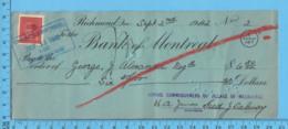 3¢ War Issue - Cheque 1942, $15.00 To George J. Alexander  From School Commissioners Melborne, Richmond P. Quebec - 1937-1952 Regno Di George VI
