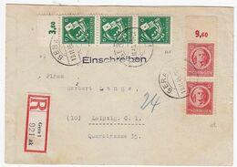 SBZ R-Brief Mit 2er+3er Streifen OR-Frankatur+AKs - Zone Soviétique