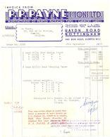 Factuur Facture Invoice - P.P. Payne & Sons - Haydn Road - Nottingham - 1955 - Regno Unito