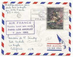 TABLEAU 1FR GERICAULT SEUL LETTRE AVION PARIS 6.6.1963 POUR USA - 1961-....