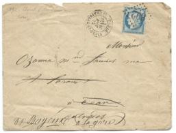 N° 60 BLEU CERES SUR LETTRE / PARIS LA CHAPELLE ST DENIS POUR BAYEUX / 1875 / GC 892 - 1849-1876: Classic Period