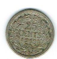 Pays Bas 25 Cent 1910 Argent - Niederlande