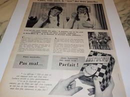 ANCIENNE PUBLICITE TEST DES 2 JUMELLES PATE ALIMENTAIRE  LUSTUCRU 1957 - Affiches