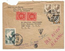 COQ 15FR PAIRE +10FR BLASON + N°761 LETTRE Mal Ouverte AVION PARIS 1.11.1951 POUR USA TAXE 3C PAIRE - 1944 Coq Et Maríanne D'Alger