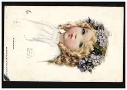 USA Künstler-AK: Virginia - Mädchenportrait Mit Haarkranz, Oberhausen 1913 - Illustrators & Photographers
