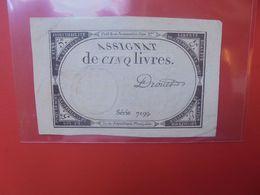 ASSIGNAT 5 Livres 10 BRUMAIRE AN II(1793) CIRCULER Dos Léger Abimer (B.18) - Assegnati