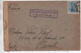 1944 - ENVELOPPE Avec CENSURE / CENSURA GUBERNATIVA CACERES Pour MARSEILLE - 1931-50 Brieven