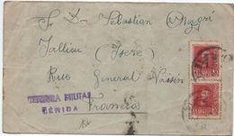 1938 - ENVELOPPE Avec CENSURE / CENSURA MILITAR LERIDA Pour JALLIEU (ISERE) - 1931-50 Briefe U. Dokumente