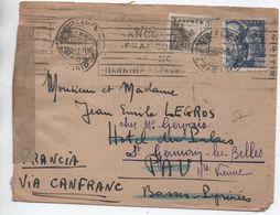 1942 - ENVELOPPE De MADRID Pour PAU -> REEXPEDIEE à SAINT GERMAIN LES BELLES (HAUTE VIENNE) -> CENSURE - 1931-50 Briefe U. Dokumente