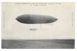 """Cpa.Reims...semaine D'aviation De Champagne (journée Du 27 Aout 1909)..le """"Zodiac évoluant""""... - Dirigeables"""