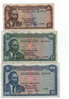 KENYA -1 07.1968 - 3  Billets , 5 -10 Et 20 Shillings - Cat World N°1. 2 Et 3    Circulés - Kenia