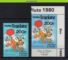 NfeA147 WALT DISNEY PLUTO 50TH ANNIVERSARY HOND DOG BALLOON * 2 VERSCHILLENDE TANDINGEN DIFF. PERFS * TOGO 1980 PF/MNH - Disney