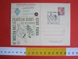 SJEK2 ITALIA ITALY SCOUT SCOUTING ANNULLO CANCEL 1980 PARMA MOSTRA NAZIONALE FILATELIA SCAUTISMO POST CARD REPIQUAGE - Lettres & Documents